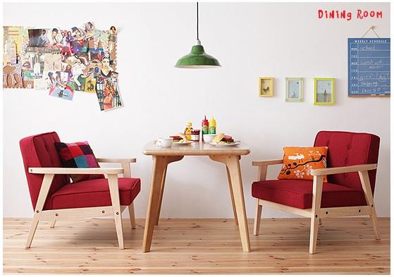 赤いソファー通販 赤い木肘付ソファー『木肘レトロソファー【Camden】カムデン』